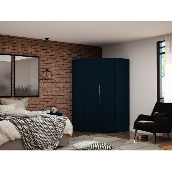Mulberry 2.0 Corner Wardrobe Closet in Tatiana Midnight Blue