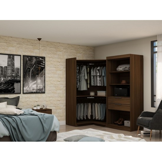 Mulberry Open 2 Sectional Corner Closet - Set of 2 in Brown