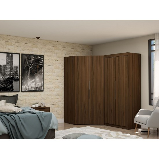 Mulberry 3.0 Sectional Corner Wardrobe Closet - Set of 2 in Brown
