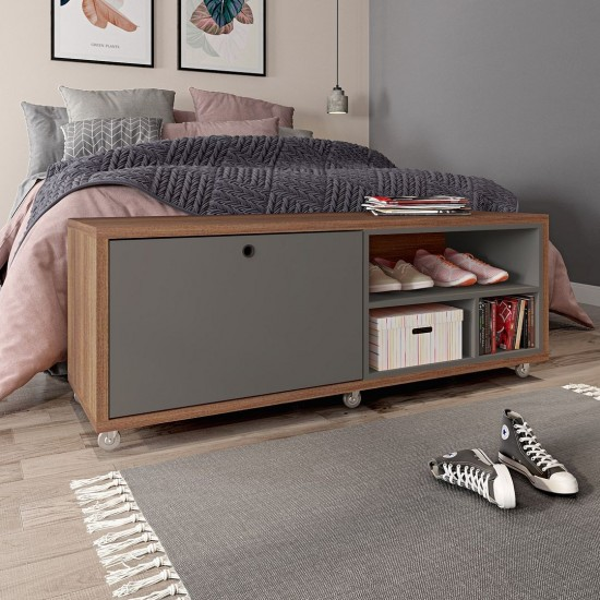 Windsor 53.62 Shoe Rack Bed Bench in Grey and Nature