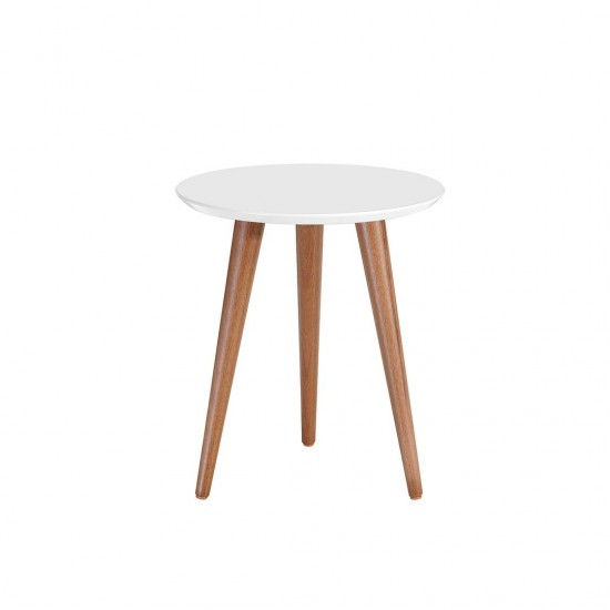 """Moore 17.32"""" Round End Table in White Gloss"""