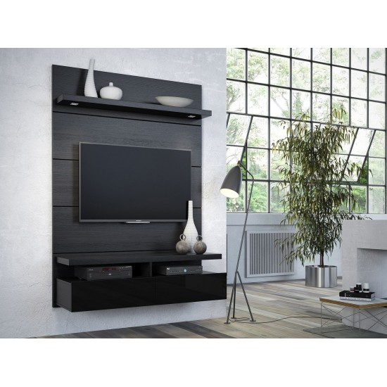 Cabrini 1.2 Floating Wall Theater Entertainment Center in Black Gloss and Black Matte
