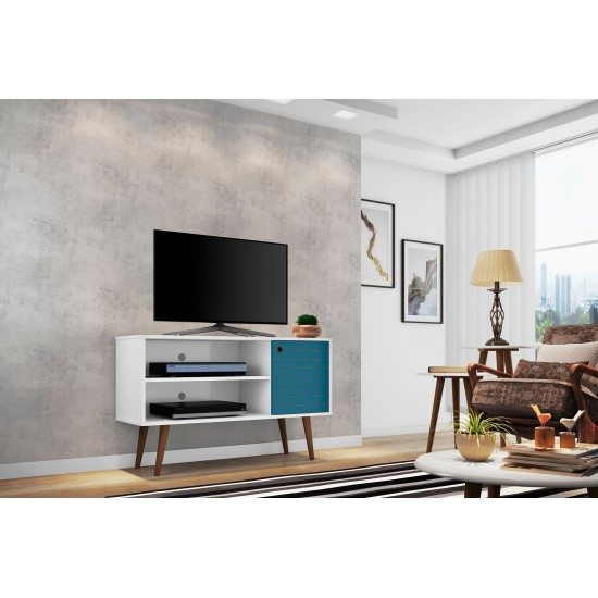 Liberty TV Stand 42.52 in White and Aqua Blue