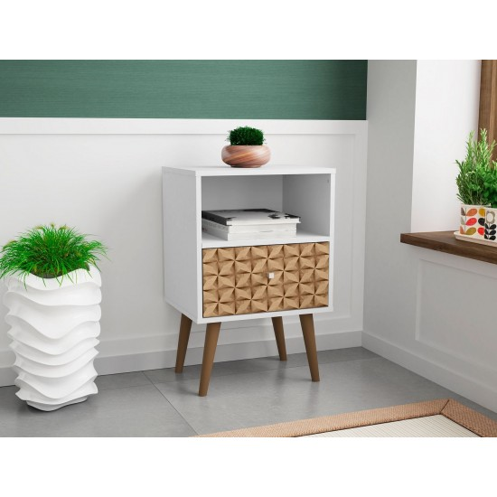 Liberty Nightstand 1.0 in White and 3D Brown Prints
