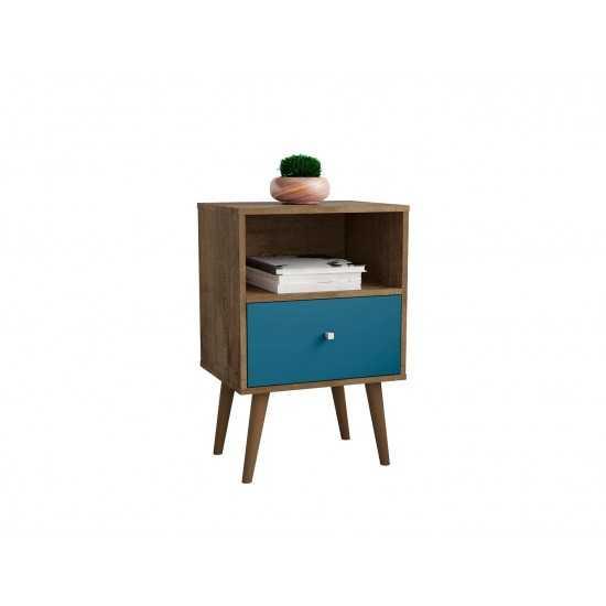Liberty Nightstand 1.0 in Rustic Brown and Aqua Blue