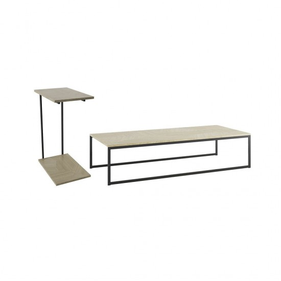 2-Piece Celine Coffee and Table in Nude Mosaic Wood