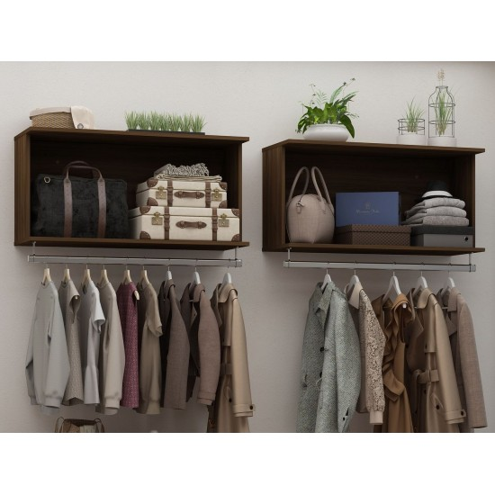Rockefeller 2-Piece Open Hanging Closet System in Brown