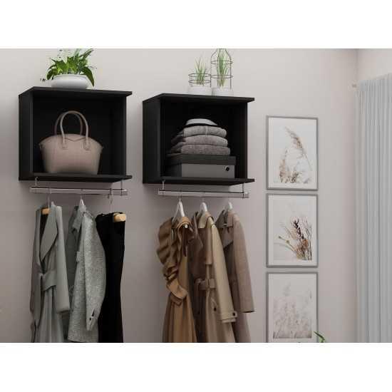 Rockefeller 2-Piece Open Hanging Closet System in Black