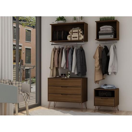 Rockefeller 4-Piece Full Open Closet Wardrobe in Brown