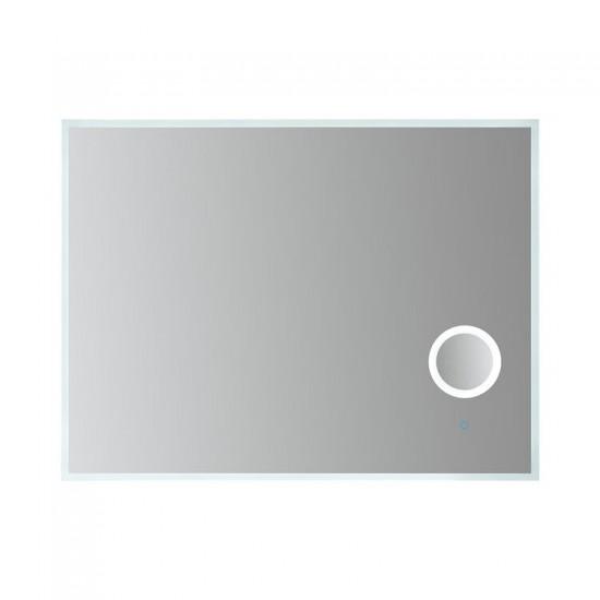 Frameless Rectangular LED Vanity Mirror 3x Magnification, Dimmer and Defogger