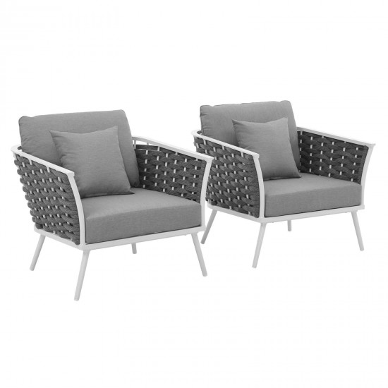 Stance Armchair Outdoor Patio Aluminum Set of 2