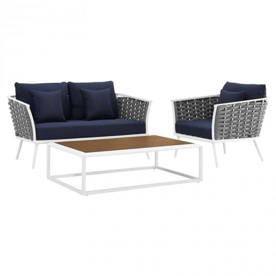 Stance 3 Piece Outdoor Patio Aluminum Sectional Sofa Set
