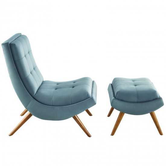 Ramp Upholstered Performance Velvet Lounge Chair and Ottoman Set