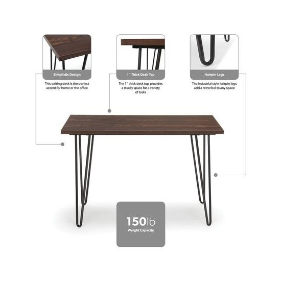 """Essentials Collection 44"""" Home Retro Desk, Writing Desk with Hairpin Legs (ESS-1054)"""