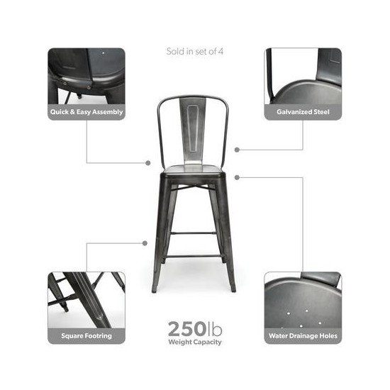 """OFM 161 Collection Industrial Modern 4 Pack 26"""" High Back Metal Stools, Galvanized Steel Indoor/Outdoor Bar Stools (161-26)"""