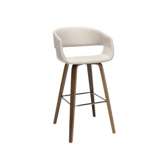"""OFM 161 Collection Mid Century Modern 2 Pack 26"""" Low Back Bentwood Frame Stool, Fabric Upholstery (161-FA26D)"""