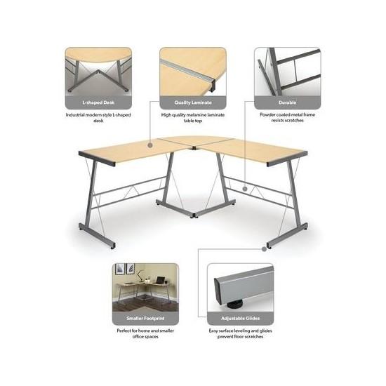 """OFM Essentials Collection 60"""" Metal Frame L-Shaped Desk, Corner Computer Desk (ESS-1021)"""