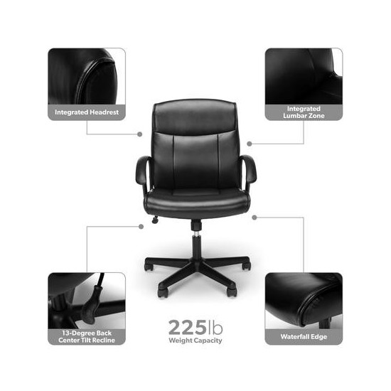 OFM Essentials Collection Mid-Back Bonded Leather Chair (ESS-6001)