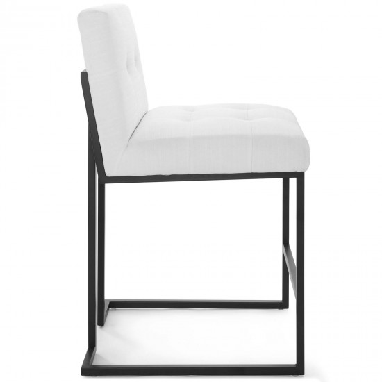 Privy Black Stainless Steel Upholstered Fabric Counter Stool