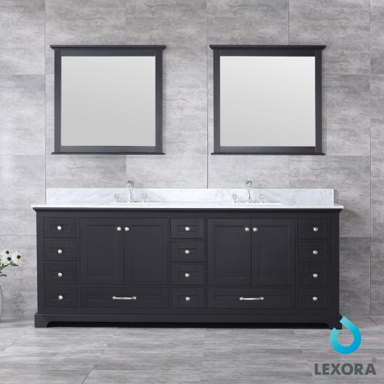 "Dukes 84"" Espresso Double Vanity, White Carrara Marble Top, White Square Sinks and 34"" Mirrors"
