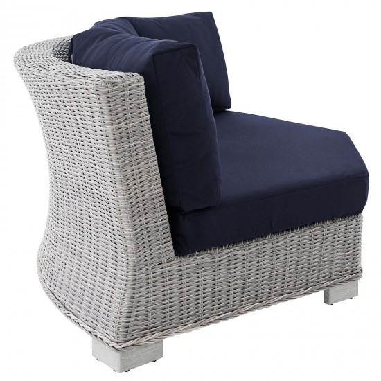 Conway Sunbrella® Outdoor Patio Wicker Rattan Round Corner Chair