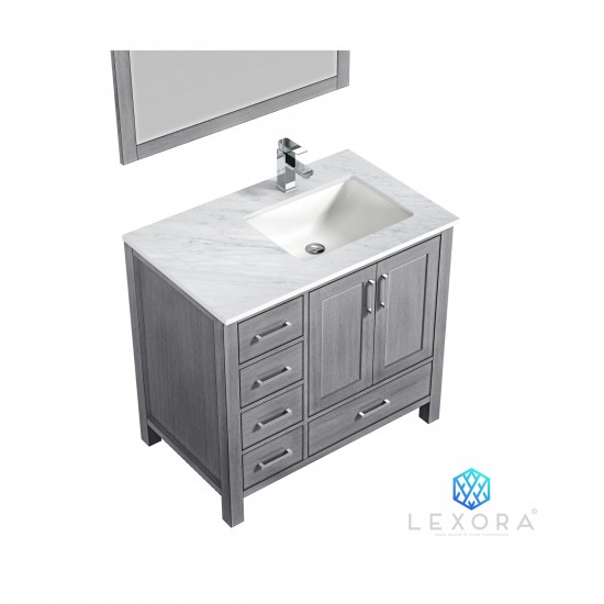 """Jacques 36"""" Distressed Grey Single Vanity, White Carrara Marble Top, White Square Sink and 34"""" Mirror - Right Version"""