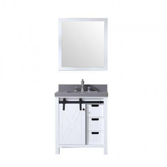 "Marsyas 30"" White Single Vanity, Grey Quartz Top, White Square Sink and 28"" Mirror"