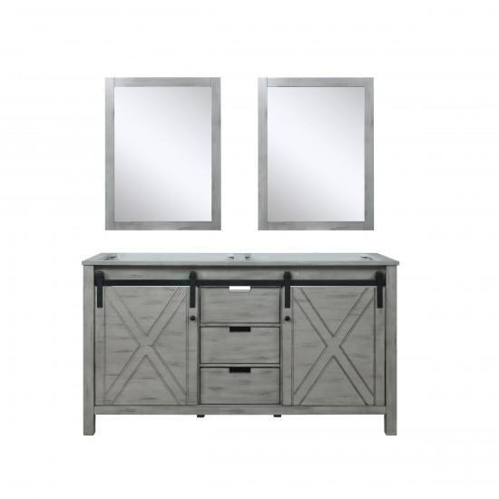 "Marsyas 60"" Ash Grey Double Vanity, no Top and 24"" Mirrors"