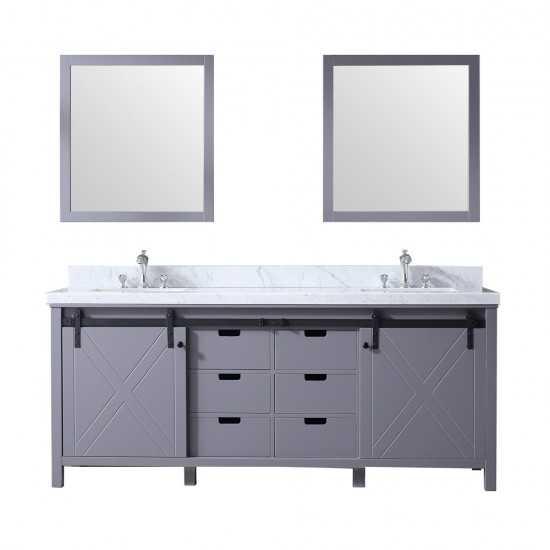 "Marsyas 80"" Dark Grey Double Vanity, White Carrara Marble Top, White Square Sinks and 30"" Mirrors"