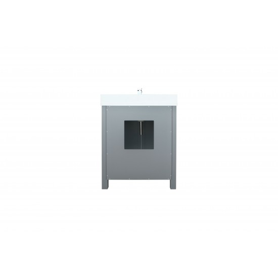 "Ziva 30"" Dark Grey Single Vanity, Cultured Marble Top, White Square Sink and no Mirror"