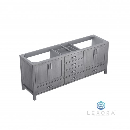 """Jacques 80"""" Distressed Grey Vanity Cabinet Only"""