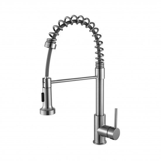 Lanuvio Brass Kitchen Faucet w/ Pull Out Sprayer - Brushed Nickel