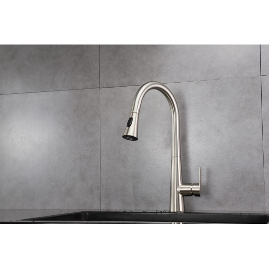 Furio Brass Kitchen Faucet w/ Pull Out Sprayer - Brushed Nickel