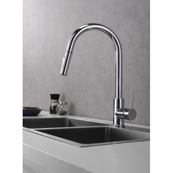 Olivi Brass Kitchen Faucet w/ Pull Out Sprayer - Chrome