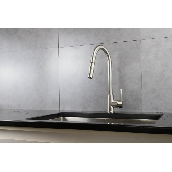 Olivi Brass Kitchen Faucet w/ Pull Out Sprayer - Brushed Nickel