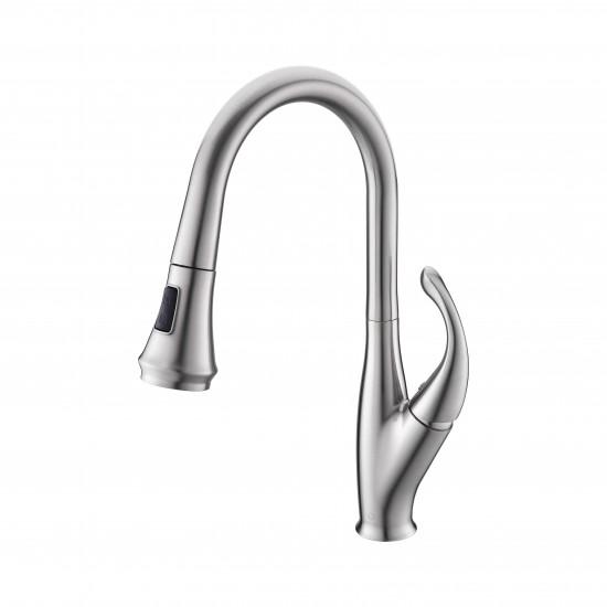 Garbatella Brass Kitchen Faucet w/ Pull Out Sprayer - Brushed Nickel