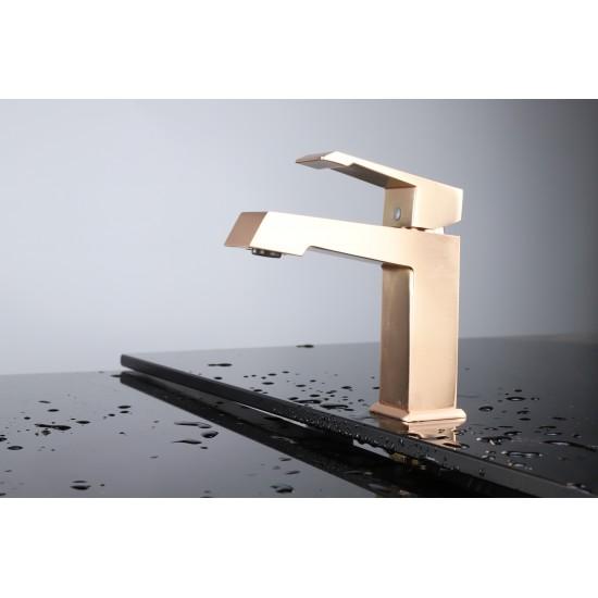 Labaro Brass Single Hole Bathroom Faucet - Rose Gold