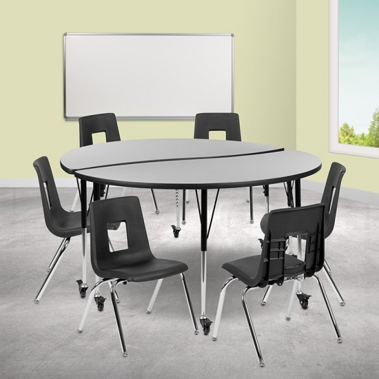 """Mobile 60"""" Circle Wave Collaborative Laminate Activity Table Set with 18"""" Student Stack Chairs, Grey/Black"""