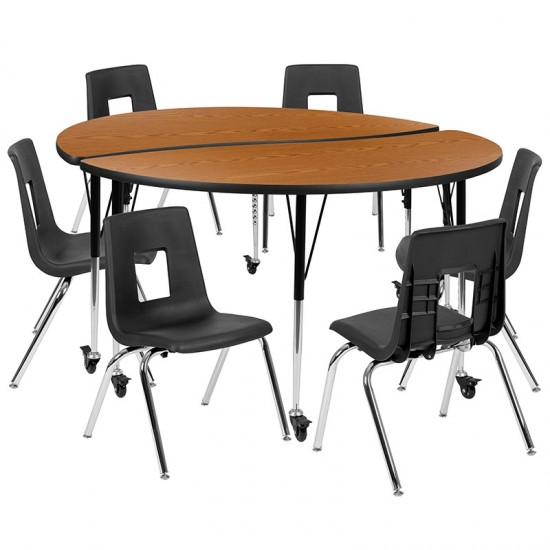 """Mobile 60"""" Circle Wave Collaborative Laminate Activity Table Set with 18"""" Student Stack Chairs, Oak/Black"""