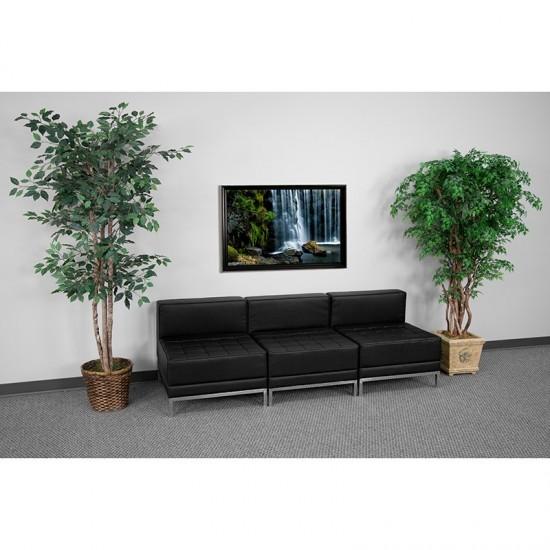 Black LeatherSoft Lounge Set, 3 Pieces