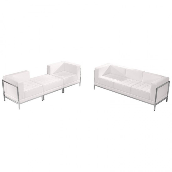 Melrose White LeatherSoft Sofa & Lounge Chair Set, 4 Pieces