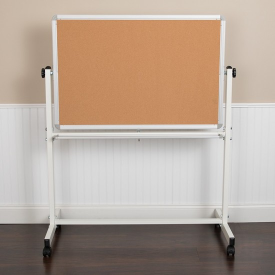 """45.25""""W x 54.75""""H Reversible Mobile Cork Bulletin Board and White Board with Pen Tray"""