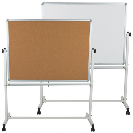 """53""""W x 62.5""""H Reversible Mobile Cork Bulletin Board and White Board with Pen Tray"""