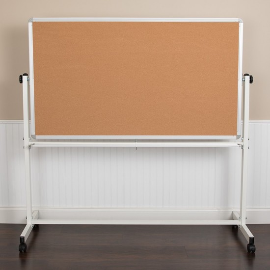 """62.5""""W x 62.25""""H Reversible Mobile Cork Bulletin Board and White Board with Pen Tray"""