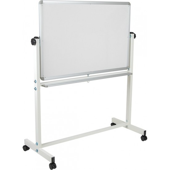 """45.25""""W x 54.75""""H Double-Sided Mobile White Board with Pen Tray"""