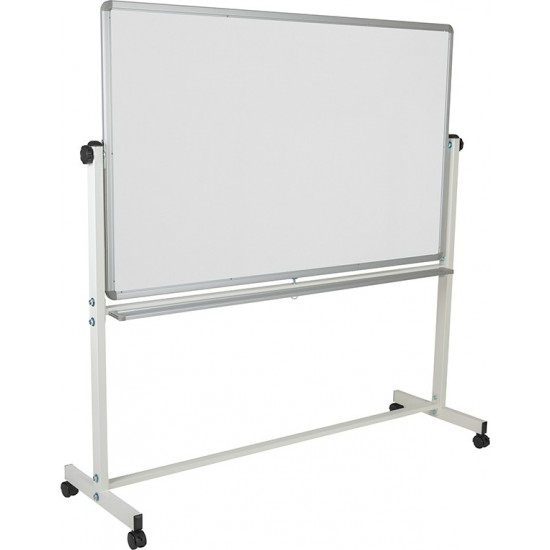 """64.25""""W x 64.75""""H Double-Sided Mobile White Board with Pen Tray"""