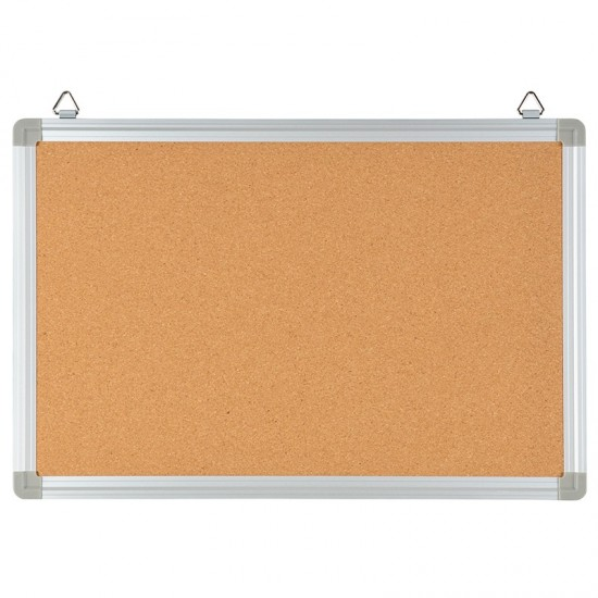 """17.75""""W x 11.75""""H Personal Sized Natural Cork Board with Aluminum Frame"""