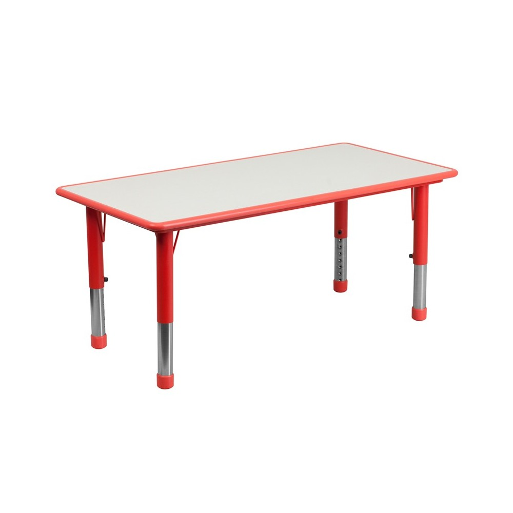 23.625''W x 47.25''L Rectangular Red Plastic Height Adjustable Activity Table with Grey Top