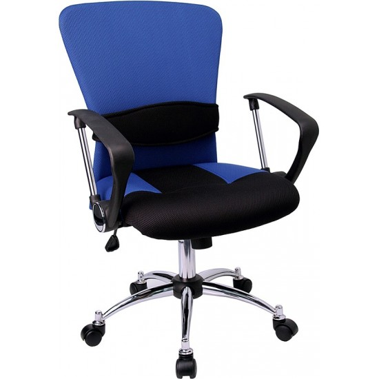 Mid-Back Blue Mesh Swivel Task Office Chair with Adjustable Lumbar Support and Arms