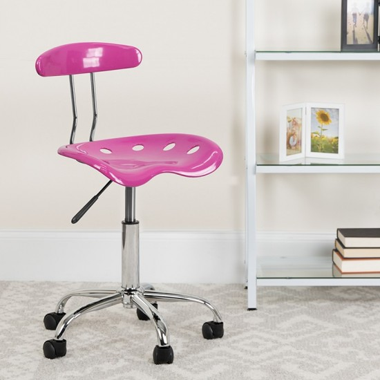 Vibrant Candy Heart and Chrome Swivel Task Office Chair with Tractor Seat